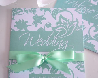 So Vintage wedding invites, in mint green, matching save the dates, thank you cards and more