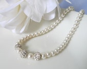 Bridal Pearl Necklace - White Bridesmaids Necklace - Bridesmaids Pearl Necklace - Sparkling Rhinestone Crystals - Charlize