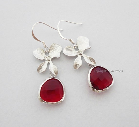RESERVED For Christina: Red Orchid Earrings - Bridal Flower Earrings Bridesmaids Ruby Czech Glass Earrings Sterling Silver Earhooks
