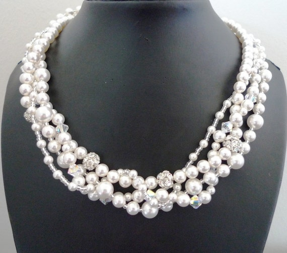 Multistrand Pearl Necklace - White Pearl Bridal Necklace - Swarovski Pearls, Crystals And Rhinestone Beads - Vintage Inspired - Cadence