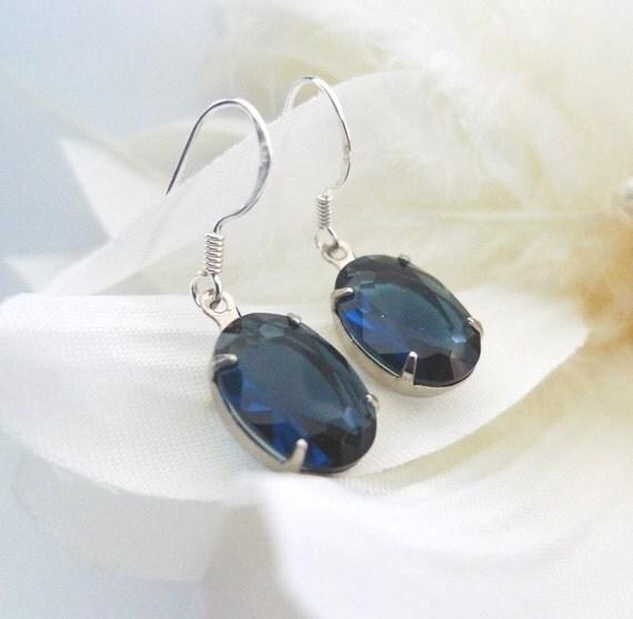 Sapphire Bridal Earrings - Sapphire Blue Earrings - Blue Bridesmaids Earrings - Sterling Silver Estate Style Vintage Inspired Earrings - Li
