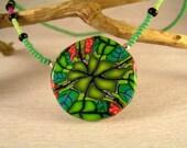 Green Kaleidoscope Choker Necklace, Polymer Clay, large pendant