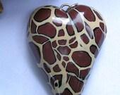 Animal Print Heart, polymer clay, handmade