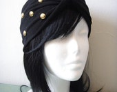 Black Gold Dot Studded Turban Twist