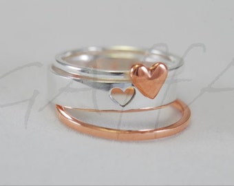 Silver stacking ring  - hearts ring