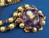 "Resin Pendant Necklace - ""Mademoiselle Violette"""