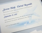 Beach Wedding Pocketfold Invitation Blue Starfish Sea Shell Custom Invitation Seaside Ocean Wedding
