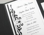 Custom Pocketfold Wedding Invitation Traditional Elegant Black and White Damask Classic