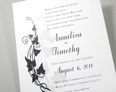 Custom Wedding Invitation Black and White Ivy Vines Traditional Contemporary