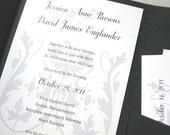 Wedding Invitation Elegant Black White Silver Gray Pocketfold Classic Crest Traditional Motif Belly Band Wrap