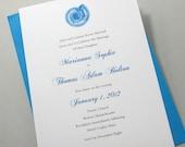Beach Wedding Custom Invitation Traditional Blue Shell Insignia Classic Script