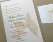 Fall Wedding Invitation Pocketfold Recycled Pressed Flower Rose Pink Vintage Custom Floral Look