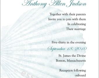 Sea Shell Wedding Invitation Elegant Blue Scallop Traditional Ocean Custom Wedding Invitation