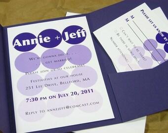 Quirky Modern Wedding Invitation Pocketfold Casual Bold Purple Circles Geometric Informal