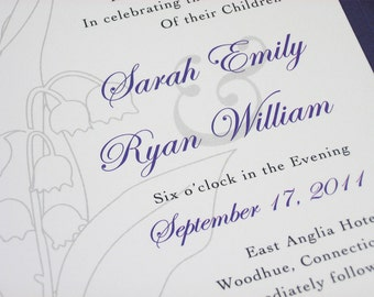 Purple Wedding Invitation Classic Lily of the Valley Elegant Black Invitation Traditional Floral