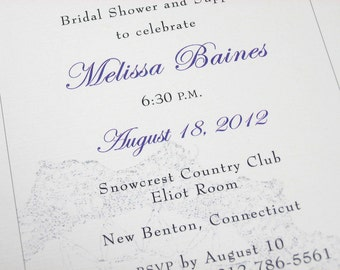 Custom Bridal Shower Invitation Lace Silver Classic Black White Purple Traditional Wedding