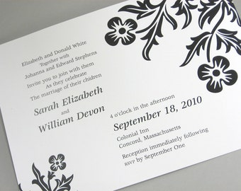 Dramatic Black and White Wedding Invitation with Bold Modern Floral