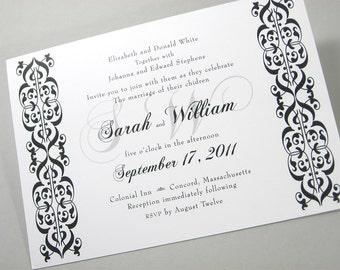 Custom Wedding Invitation Modern Damask Classic Black White Traditional