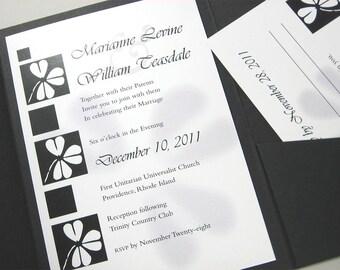 Custom Wedding Pocketfold Invitation Black White Celtic Shamrock Vellum Wrap