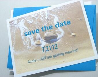 Beach Wedding Save the Date Cards Modern Photo Tide Sandy Shore Seaside Teal Envelope