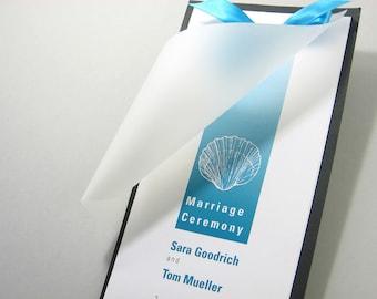 Beach Wedding Ceremony Program Custom Layered Vellum Teal Blue Sea Shell Ocean Seaside Book Ribbon