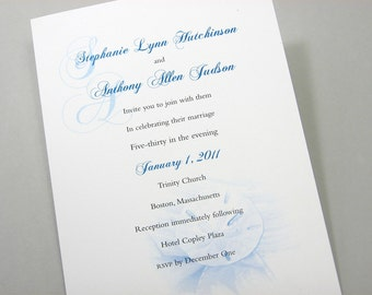 Beach Wedding Invitation Traditional Elegant Blue Sand Dollar Sea Shell Custom Invitation Classic