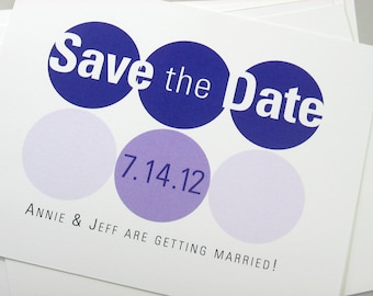 Save the Date Cards Modern Bold Geometric Purple Circles Casual Contemporary
