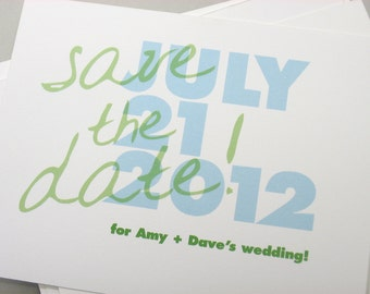 Save the Date Cards Bold Modern Blue Green Quirky Casual Wedding Handwriting