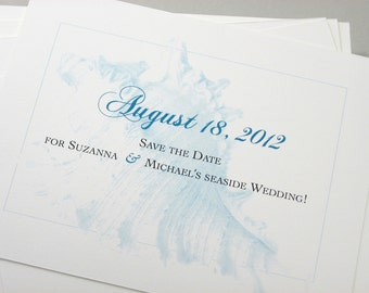 Save the Date Cards Beach Wedding Classic Blue Ocean Sea Shell Traditional Seaside Wedding Elegant