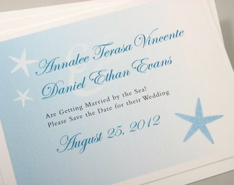 Beach Wedding Save the Date Cards Blue Starfish Sea Shell Ocean Blue Green Traditional Wedding