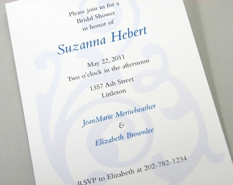 Traditional Bridal Shower Invitation Elegant Classic Blue Flourish Damask Custom Invitation Wedding Shower
