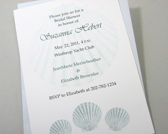Beach Bridal Shower Invitation Custom Ocean Blue Scallop Shells Seashells Traditional