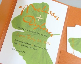 Custom Wedding Invitation Pocketfold Gingko Green Leaf Bold Orange Pocket Casual Informal Wedding