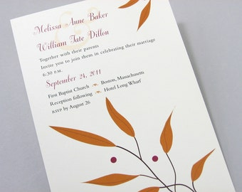 Fall Wedding Invitation Rusty Leaves Crimson Red Berries Ribbon Wrap Autumn Casual Wedding Golden Brown