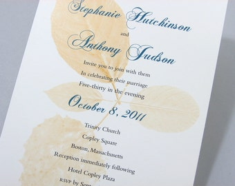 Fall Wedding Invitation Autumn Leaves Gold Green Ribbon Wrap Traditional Classic Custom Invite Harvest Gold