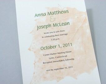 Fall Wedding Invitation Golden Leaf Autumn Classic Wedding Green Rust Leaves Modern Wedding