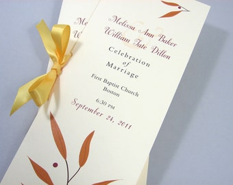 Fall Wedding Ceremony Program Booklet Autumn Leaves Gold Custom Ribbon Tie Rusty Orange Branch