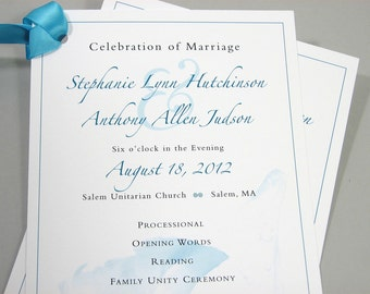 Wedding Ceremony Program One Page Custom Traditional Blue Beach Shell Teal Ribbon Sea Ocean Teal