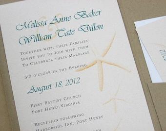 Custom Beach Wedding Invitation Pocketfold Recycled Natural Starfish Teal Green Seaside Ocean