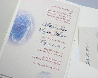 Beach Wedding Pocketfold Invitation Custom Blue Sea Shell Motif Recycled Tie Oceanside Wedding