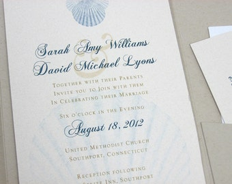 Beach Wedding Pocketfold Invitation Blue Scallop Shells Traditional Natural Tie Recycled Custom Invite