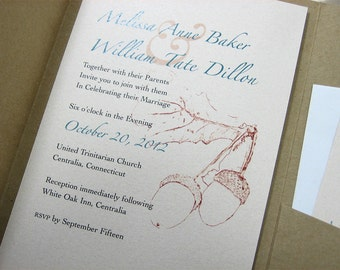 Fall Wedding Pocketfold Invitation Recycled Acorns Rust Brown Green Oak Tree Autumn Leaves