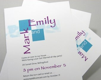 Bold Elopement Invitation Custom Wedding Invite Geometric Squares Teal Purple Casual Party