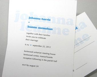 Quirky Wedding Invitation Bold Names Bright Blue Modern Invite Contemporary