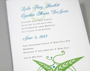 Custom Wedding Invitation Bright Spring Green Leaf Modern Leaves Traditional Blue Script Summer Garden Wedding