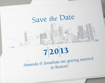 Destination Save the Date Card Custom City Home Town Church Chapel Wedding Venue Drawing Photo Image