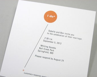 Custom Wedding Invitation Modern Bright Orange Circle Bold Geometric Quirky
