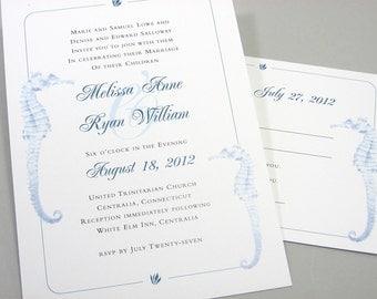 Beach Wedding Custom Invitation Elegant Blue Seahorse Traditional Seaside Ocean Invite Card