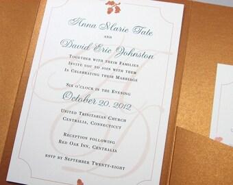 Fall Wedding Invitation Custom Pocketfold Elegant Traditional Rusty Brown Acorns Copper Autumn Classic