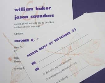 Fall Wedding Invitation Custom Pocketfold  Casual Invite Rust Leaves Purple Pocket Belly Band Bold Tree Branch